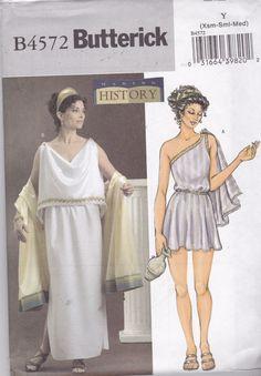 Butterick 4572 Historical Costume Womens Ancient Greek Costume, Roman, Greek Goddess, Size X Sm, Small, Med UNCUT