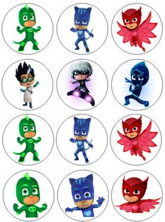 Pj Masks Cake Topper, Pj Masks Cupcake Toppers, Pj Mask Cupcakes, Edible Cupcake Toppers, First Birthday Party Themes, Boy Birthday Parties, Pj Mask Party Decorations, Pjmask Party, Dance Coloring Pages