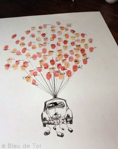 fingerprints... This would be cute with baby shower guests on each balloon. Draw an animal being carried away by balloons & hang in the nursery :)