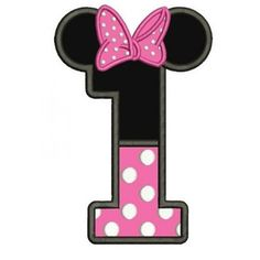 Number One First Birthday Girl Minnie Mouse Ears Applique Machine Embroidery Digitized Pattern- Instant Download - 4x4 ,5x7,6x10 #birthday #embroidery #applique #mouse