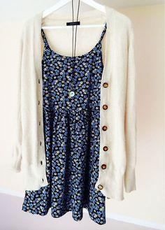 Sleeveless strappy summer dress, Long sleeve knit cardigan