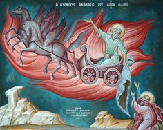 The Prophet Elias In a Chariot to Heaven. Byzantine Art, Byzantine Icons, Religious Icons, Religious Art, Religion, Old Testament, Orthodox Icons, Sacred Art, Christian Art