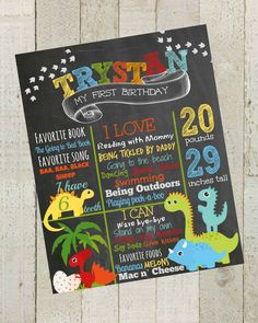 Dinosaur Birthday Chalkboard Poster- Dinosaur Birthday, Poster Sign ,Boy Birthday Poster Printable File by themilkandcreamco on Etsy