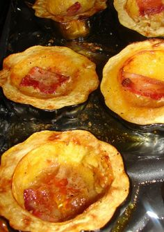 Acorn Squash with brown sugar and bacon!!  Must try