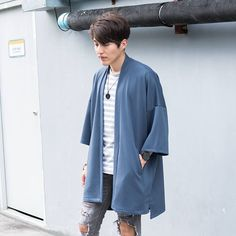 Men's Long Charcoal Gray Japan Kimono Cardigan, Man Noragi Coat, Oversized Street Haori Jacket, Streetwear Loose Style Yukata Overcoat