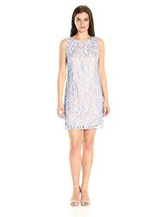 Women's Fashion Dresses Eliza J Women's Sleeveless Shift, Blue, 10