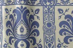 Heraldic from Florence Broadhurst via Signature Prints #fabric #silk #blue #white
