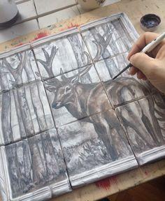 In the process- underglaze painting on handmade tiles Handmade Tiles, Doraemon, Artisan, Hand Painted, Painting, Design, Painting Art, Craftsman