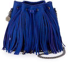 Stella McCartney Falabella Small Fringe Bucket Bag, Blue, Fringe, Fashion, Designer, Fringed Fashion, h-a-l-e.com