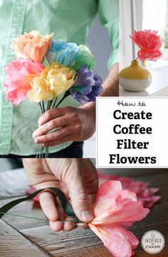 I'm going to show you how to easily create a flower from coffee filters. What I love about these blooms is that they are multipurpose. You can use them as the finishing touch on your gift wrapping. Flower Crafts, Diy Flowers, Paper Flowers, Cute Crafts, Crafts To Make, Crafts For Kids, Coffee Filter Flowers, Coffee Filters, Projects For Kids