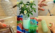 estupendos floreros de botellas de plástico
