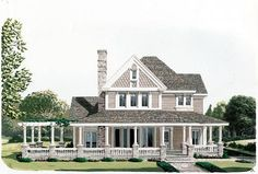 Elevation of Country Farmhouse Victorian House Plan 90331