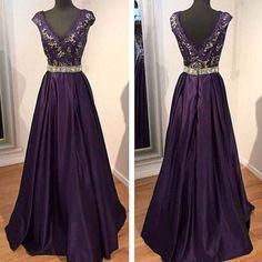 ,Dark Purple Prom Dresses,Satin Prom Dress,2016 Sexy V Neck Prom Dresses
