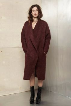 Wine Mohair Wool Escape Coat