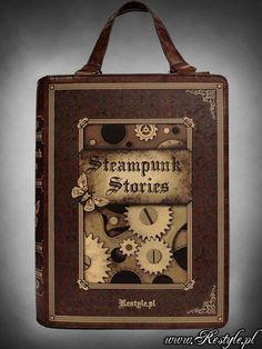 "Brown BOOK bag ""STEAMPUNK STORIES"" steampunk handbag A4 | HANDBAGS | Restyle.pl"