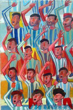La hinchada 2, acrílico sobre tela, 26 x 17 cm. 2015., by Diego Manuel