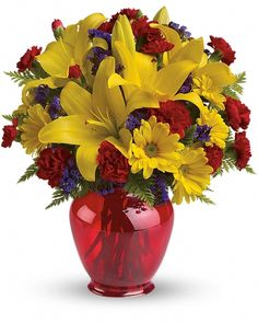 awesome Let Us Celebrate Bouquet, By Calgary Flowers Let Us Celebrate Bouquet by Calgary Flowers Celebrate with this joyous bouquet! our Let Us Celebrate Bouquet Bring the sunshine in with golden lilies and bright yellow daisies in our charming red ginger jar vase. , http://sendflowerstocalgary.com/product/let-us-celebrate-bouquet/, 52.95