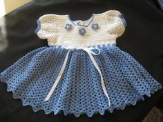 Baby Girl's Dress Crocheted Blue and White