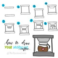 how to draw a pot of coffee