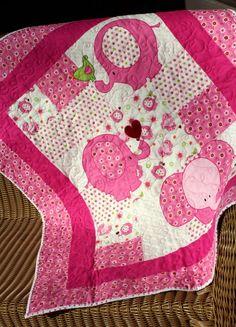 Baby Quilt -  Handmade - Pink Elephants.