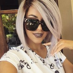 New purple hair! Well kinda purple! Sunglasses are @quayaustralia and I have @anastasiabeverlyhills Sepia on the lips