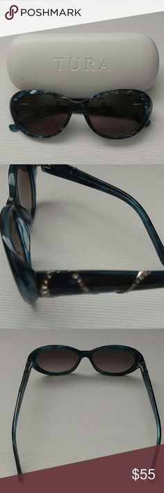Tura Women's Sunglasses Tura Women's Sunglasses, Blue Marble. Includes hard case and cleaning cloth. NEW never worn. Tura Accessories Sunglasses