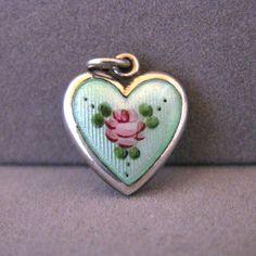 Vintage Sterling Silver Green Guilloche Enamel Puffy Heart Charm