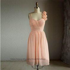 Nice peach chiffon bridesmaid dress 2017-2018