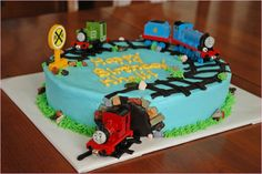 Thomas The Train Birthday Cake Ideas  This one might b easy enough for me to do...maybe in the shape of a 3 though