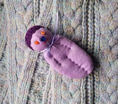 Lavender Filled Sachet Handmade Sock Doll OOAK Purple w\Orange Eyes Blue Nose #Pedricks