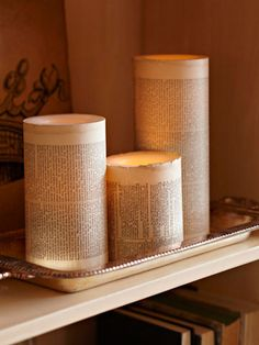 Battery-operated candle makeover. Cast an eerie (and safe) glow with battery-operated candles. Wrap the candles with aged book pages or newsprint, and group them on a silver tray for an otherworldly glimmer.