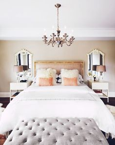 Glam bedroom with pink pillows and a tufted bench via This Is Glamorous - Model Home Interior Design Glam Bedroom, Home Decor Bedroom, Living Room Decor, Design Bedroom, Bedroom Apartment, Bedroom Furniture, Bedroom Mirrors, Fancy Bedroom, Bedroom Lighting