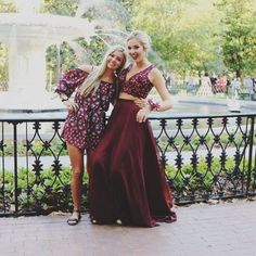Red Appliques V-Neck Chiffon Two Pieces Prom Dresses 2017 #SKU:200549