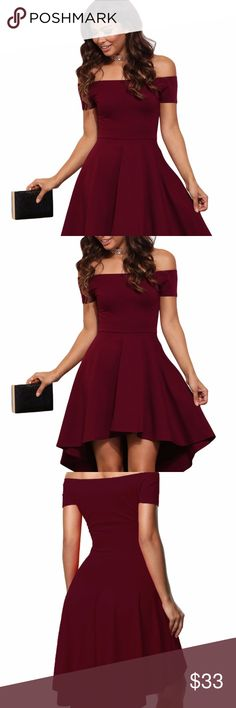 ♥️CUTE!! Burgundy All The Rage Skater Dress♥️ Off the shoulder dresses are all the rage this season! Show off your amazing fashion sense with this dress that features an elastic off the shoulder neckline, a short sleeve, a slim fitting bodice and a super cute skater skirt with a hi low hem. This Burgundy All The Rage Skater Dress is gorgeous elegant and perfect for you next social event!  Material : 95%Polyester+5%Spandex  S 4-6 M 8-10 L 12-14  Also available in Blue! Check out my closet for…