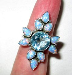 RING -   Blue TOPAZ - Surrounded by Fire OPALS  - 925 - Sterling Silver  - size 8 1/2 blue 312 by MOONCHILD111 on Etsy