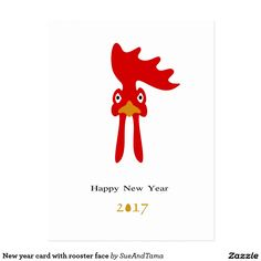 New year card with rooster face