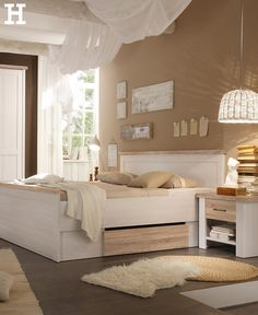 Bed with 2 bedside tables - white - oak (optics) - country style Lancast . Bed with 2 bedside tables – white – oak (optics) – country style Lancaster Bett mit 2 Nachtkommoden – weiß – Eiche (Optik) – Landhaus-Stil Lancast… 2 Source by Cozy Bedroom, Bedroom Sets, Master Bedroom, Bedroom Decor, Bedroom Styles, Bedroom Colors, Lancaster, Country Style Homes, New Room