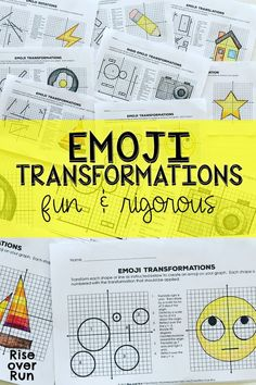 Transformations Practice with Emojis! 8 activities to help students translate, rotate, reflect, and dilate lines and shapes on coordinate grid. Fun and rigorous resource for grade math or high school geometry students. Teaching Geometry, Geometry Activities, Teaching Math, Math Activities, Teaching Ideas, Math Teacher, Transformations Math, Geometric Transformations, Math 8