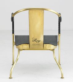 """Theselius, """"El Rey"""", armchair, Källemo, designed in 1999, solid brass, wooden seat with crocodile embossed black leather"""
