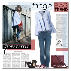 """""""Street Style: Fringe Bag"""" by margaretferreira ❤ liked on Polyvore featuring By Malene Birger, Barneys New York, Frame Denim, E L L E R Y, Chanel, women's clothing, women's fashion, women, female and woman"""