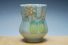 Pineapples Yunomi in Frost w. Tangerine, Sky blue, and Lime polka dots, & Navy lines, Colorized detail, Handmade ceramic cup