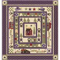 Clover Meadow Quilt Kit Featuring fabric by Jan Patek. Makes a super beautiful purple and tan quilt she is known for. This quilt kit includes the pattern and all the fabric you need to make this quilt top just as shown. Applique Quilt Patterns, Primitive Folk Art, Primitive Quilts, Cute Quilts, Quilt Sizes, Barn Quilts, Cotton Quilts, Quilt Top, Square Quilt