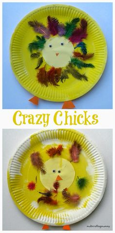 Paper plate crafts for kids: Crazy Chicks