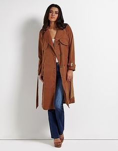 Womens dark tan trench coat from Lipsy - £60 at ClothingByColour.com