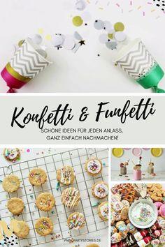 Bunt, bunter, Funfetti & Konfetti! Egal ob einfache Deko Ideen mit Konfetti wie Ballongirlanden & Konfettipopper, oder leckere Rezepte mit bunten Streuseln (=Funfetti) für Kekse, Kuchen, Torten & Freakshakes. Auf dem Kreativblog www.partystories.de gibt's viele einfache, bunte und inspirierende Ideen sowie Anleitungen für eine bunte Konfetti-/Funfetti Party für jeden Anlass! // #Funfetti #Konfetti #Kindergeburtstag #Taufe #Babyparty #Babyshower #Mottoparty #Rezeptideen #superstreusel… Bunt, Breakfast, Food, Biscuits, Pies, Kuchen, Confetti, Garlands, Sprinkles