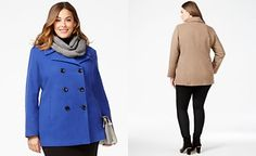 Calvin Klein Plus Wool-Cashmere Blend Peacoat with Infinity Scarf