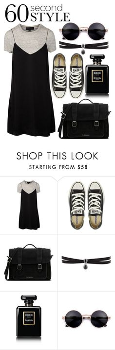 """""""60 Second Style -T-Shirt Dress 2"""" by nadyando ❤ liked on Polyvore featuring Converse, Dr. Martens, Fallon, Chanel, tshirtdresses and 60secondstyle"""