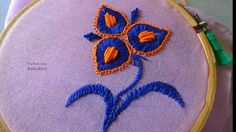 Hand Embroidery Flower Design Bullion Knot Satin Herringbone Stith by Amma Arts - YouTube