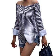 2017 Fashion Striped Print Women Off Shoulder Blouse Slash Neck Long Sleeve Shirt Women Tops Vintage Ladies Blouses Blusas #Affiliate