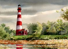 Red stripes and reflection. Matted art prints & boxed notecards of original watercolor painting. Watercolor Landscape, Watercolor Print, Watercolor Illustration, Landscape Art, Watercolor Paintings, Lighthouse Painting, Summer Landscape, Red Stripes, Note Cards